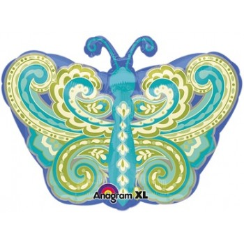 Palloncino Mylar 45 cm. Junior Shape Paisley Teal Butterfly