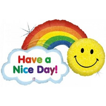 Palloncino Mylar Super Shape 114 cm. Holographic Have A Nice Day! Rainbow