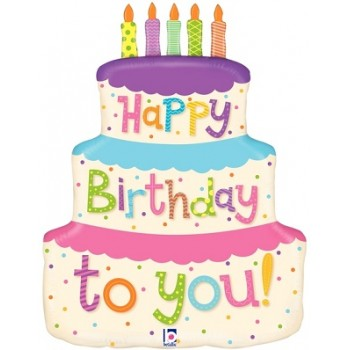 Palloncino Mylar Super Shape 68 cm. Girly Happy Birthday Cake