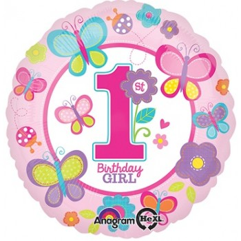 Palloncino Mylar 45 cm. Sweet Birthday Girl 1° Pink