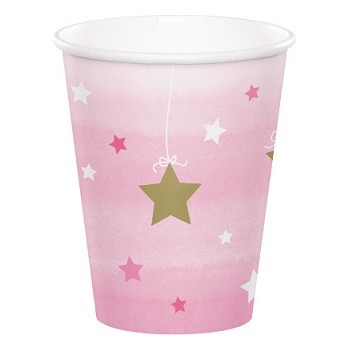 Bicchiere carta 266 ml - 1° Compleanno Bimba One Little Star Girl - 8 pz