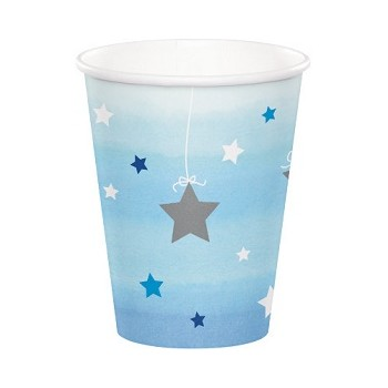 Bicchiere carta 266 ml - 1° Compleanno Bimbo One Little Star Boy - 8 pz
