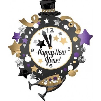 Palloncino Mylar Super Shape 76 x 88 cm Happy New Year Clock