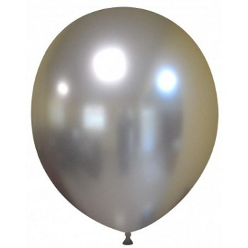 Palloncino in Lattice Rotondo 30 cm. Chrome Silver