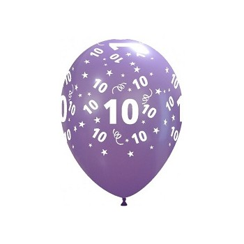 Palloncino in Lattice Rotondo 30 cm. Stampa 10° Compleanno Assortiti
