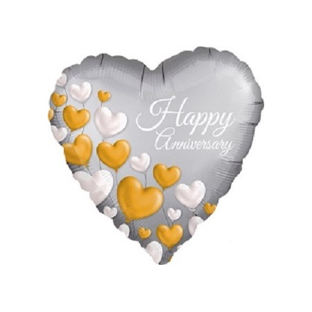 Palloncino Mylar 45 cm. Heart Happy Anniversary