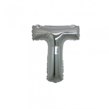 Palloncino Mylar Lettera T Micro - 17 cm. Argento