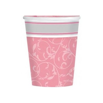 Bicchieri Carta 266 ml. Elegant Rosa 8 pz.
