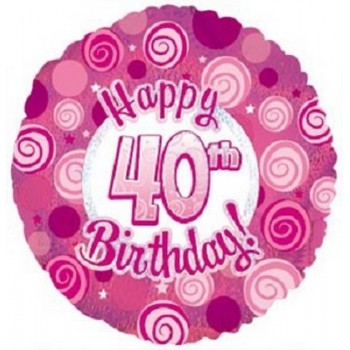 Palloncino Mylar 45 cm. 40° Happy Birthday Pink Dazzeloon