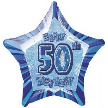 Palloncino Mylar 45 cm. 50° Happy Birthday Star Prism