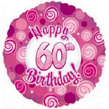Palloncino Mylar 45 cm. 60° Happy Birthday Pink Dazzeloon