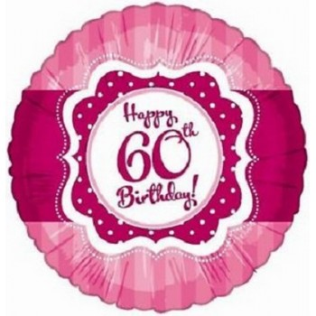 Palloncino Mylar 45 cm. 60° Happy Birthday Pink