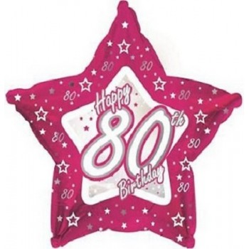 Palloncino Mylar 45 cm. 80° Pink & Silver Happy Birthday