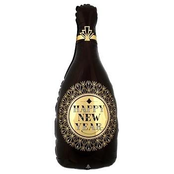 Palloncino Mylar 45 cm. 90° Black & Gold Glitter