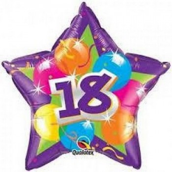 Palloncino Mylar 45 cm. 18° Birthday Purple Shinning Star