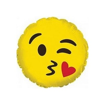 Palloncino Mylar Mini Shape 23 cm. Emoticon Smile Blowing Kiss