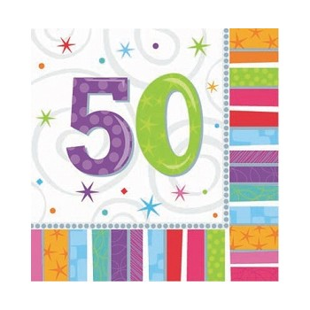Buon Compleanno Radiant - Tovagliolo 33x33 cm. 50° - 16 pz.