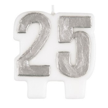 Candela Argento 25° Anniversario H. 7 cm.