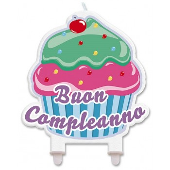Candela Buon Compleanno, Sagomata 12 x 12 cm Cupcake