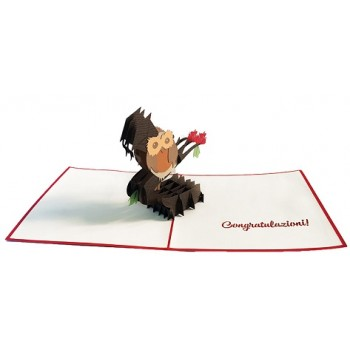 Cartolina Auguri Origami Laurea Gufo