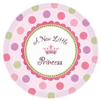 Nascita Bimba A New Little Princess - Piatto Carta 18 cm. - 8 pz.