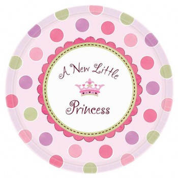 Coordinato Nascita Bimba A New Little Princess - Piatto Carta 18 cm. - 8 pz.