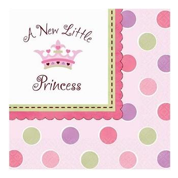 Coordinato Nascita Bimba A New Little Princess - Tovagliolo 33x33 cm. - 16 pz.