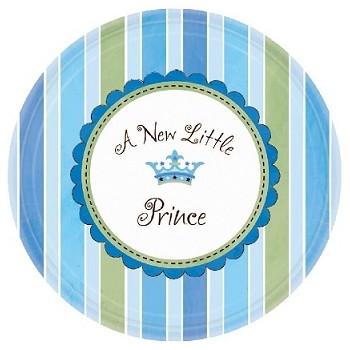 Coordinato Nascita Bimbo A New Little Prince - Piatto Carta 18 cm. - 8 pz.
