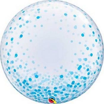 Palloncino Bubble 61 cm. Confetti Azzurri