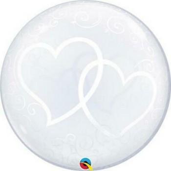 Palloncino Bubble 61 cm. Cuori Intrecciati