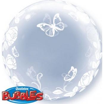 Palloncino Bubble 61 cm. Rose e Farfalle