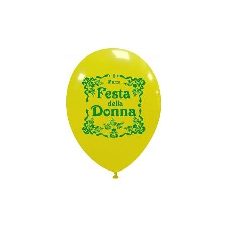 Palloncino in Lattice Rotondo 30 cm. Stampa Festa della Donna Giallo