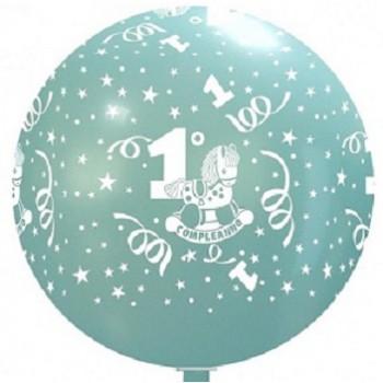 Palloncino in Lattice Rotondo 80 cm. Stampa 1° Compleanno Bimbo