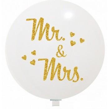Palloncino in Lattice Rotondo 80 cm. Stampa Matrimonio Mr & Mrs Bianco/ Oro Glitter