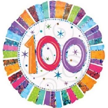 Palloncino Mylar 45 cm. 100° Radiant Birthday