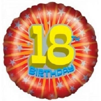 Palloncino Mylar 45 cm. 18° Age Birthday Starburst