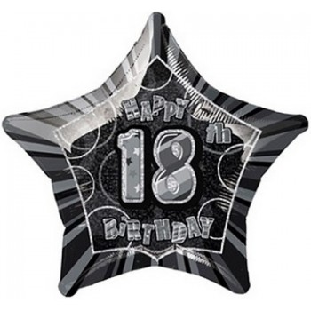 Palloncino Mylar 45 cm. 18° Birthday Balloons Prism Black