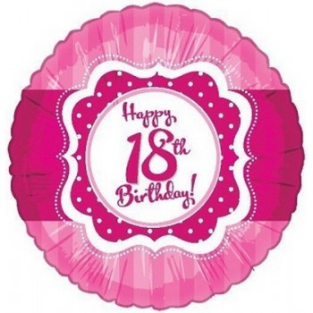 Palloncino Mylar 45 cm. 18° Happy Birthday Pink