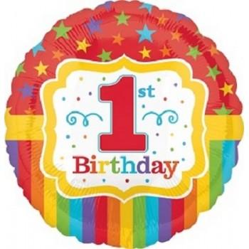 Palloncino Mylar 45 cm. 1° Rainbow Birthday