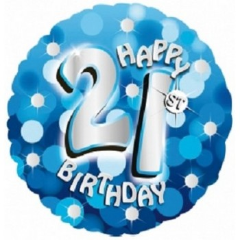 Palloncino Mylar 45 cm. 21° Holographic Birthday Blue Dots