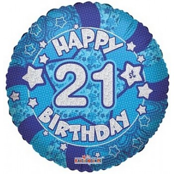 Palloncino Mylar 45 cm. 21° Holographic Blue Happy Birthday