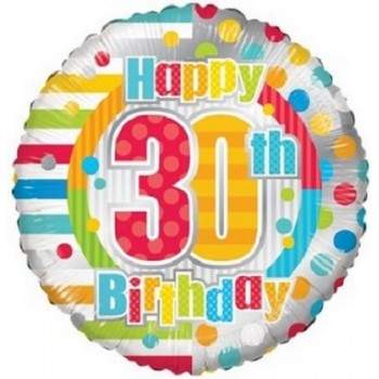 Palloncino Mylar 45 cm. 30° Birthday Dots & Lines