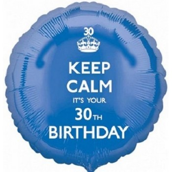 Palloncino Mylar 45 cm. 30° Keep Calm Birthday Blu