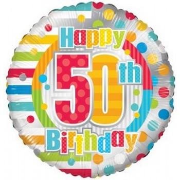 Palloncino Mylar 45 cm. 50° Birthday Dots & Lines