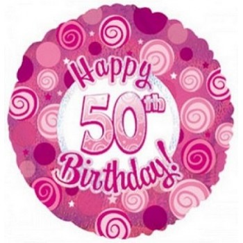 Palloncino Mylar 45 cm. 50° Happy Birthday Pink Dazzeloon