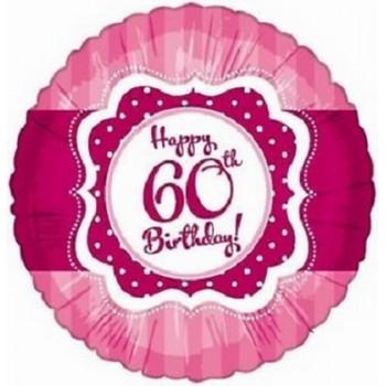 Palloncino Mylar 45 cm. 60° Happy Birthday Pink