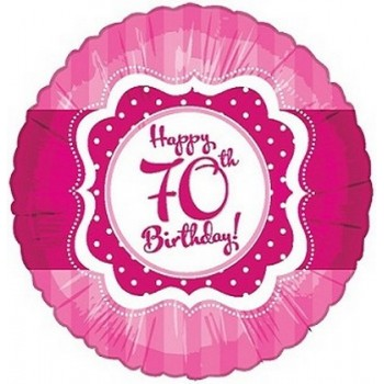 Palloncino Mylar 45 cm. 70° Happy Birthday Pink