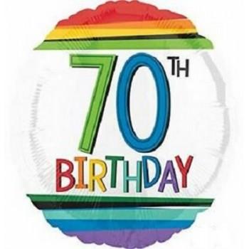 Palloncino Mylar 45 cm. 70° Rainbow Birthday