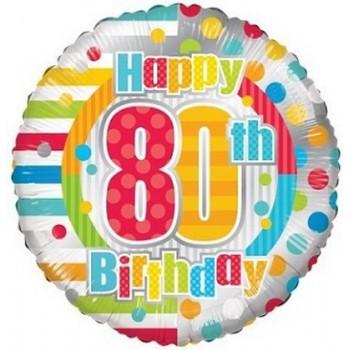 Palloncino Mylar 45 cm. 80° Birthday Dots & Lines