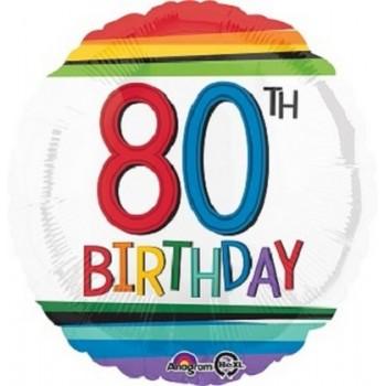 Palloncino Mylar 45 cm. 80° Rainbow Birthday